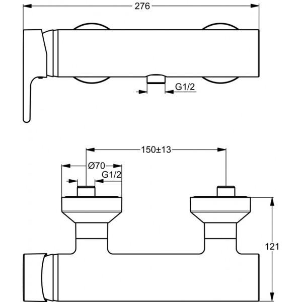 baterie dus ideal standard active b8066aa monocomanda montare pe perete cartus ceramic crom. Black Bedroom Furniture Sets. Home Design Ideas